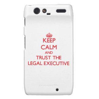 Guarde la calma y confíe en el ejecutivo legal motorola droid RAZR funda
