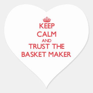 Guarde la calma y confíe en el fabricante de cesta etiqueta