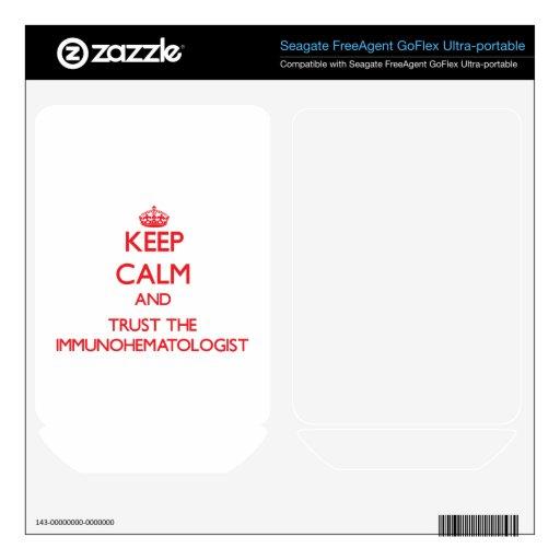 Guarde la calma y confíe en el Immunohematologist FreeAgent GoFlex Calcomanía