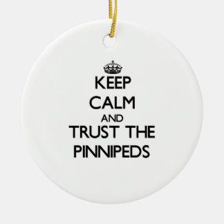 Guarde la calma y confíe en el Pinnipeds Adorno De Navidad