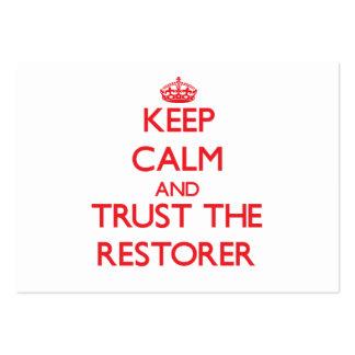 Guarde la calma y confíe en el restaurador tarjetas de visita grandes