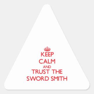 Guarde la calma y confíe en la espada Smith Calcomanía De Triangulo Personalizadas