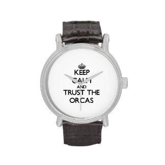 Guarde la calma y confíe en las orcas relojes de pulsera