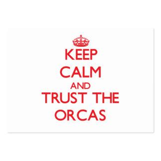 Guarde la calma y confíe en las orcas tarjetas de visita grandes