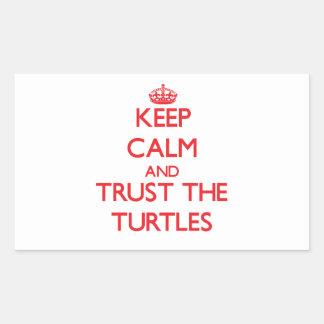 Guarde la calma y confíe en las tortugas rectangular pegatina