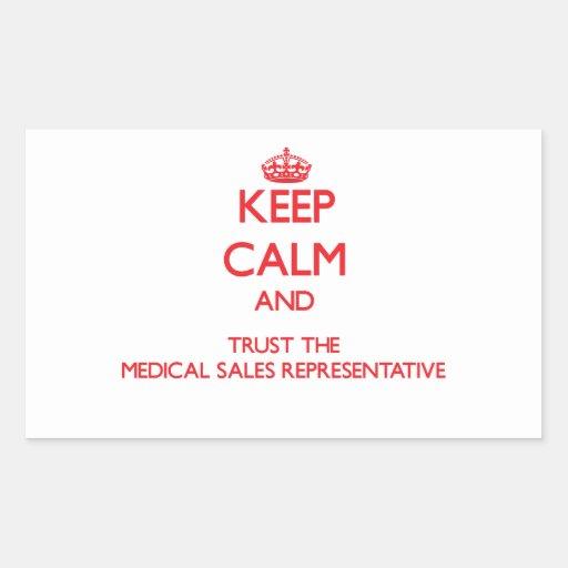 Guarde la calma y confíe en las ventas médicas rectangular pegatinas