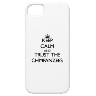 Guarde la calma y confíe en los chimpancés iPhone 5 fundas