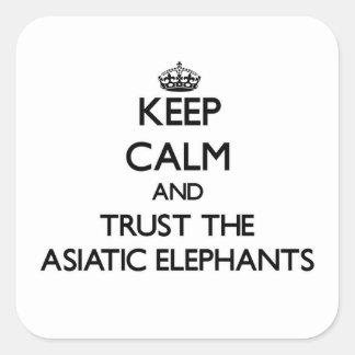 Guarde la calma y confíe en los elefantes pegatina cuadrada