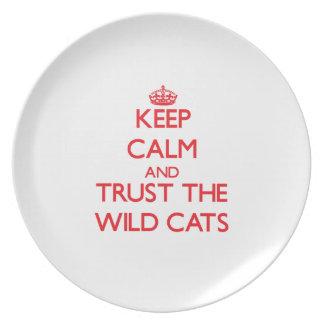 Guarde la calma y confíe en los gatos salvajes platos para fiestas