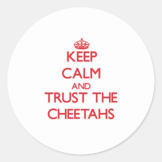 Guarde la calma y confíe en los guepardos pegatina redonda