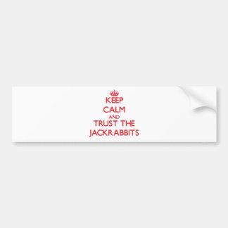 Guarde la calma y confíe en los Jackrabbits Pegatina De Parachoque