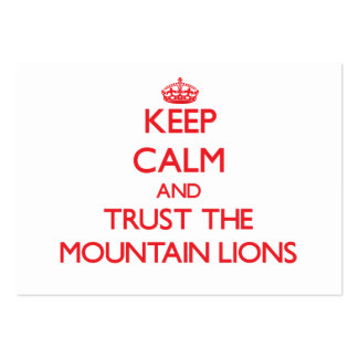 Guarde la calma y confíe en los leones de montaña plantillas de tarjetas personales