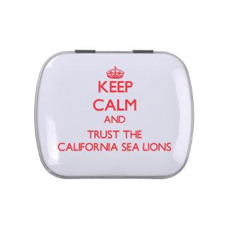 Guarde la calma y confíe en los leones marinos de  frascos de dulces