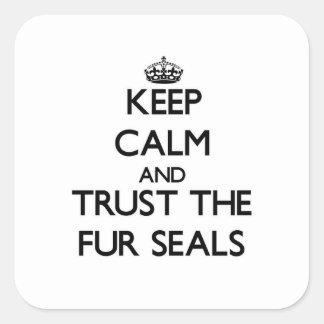 Guarde la calma y confíe en los lobos marinos calcomanias cuadradas