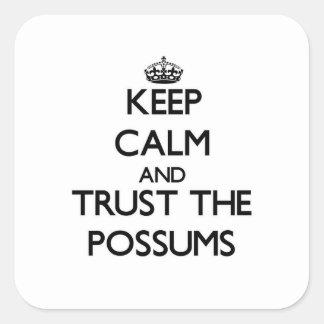 Guarde la calma y confíe en los oposums pegatina cuadrada