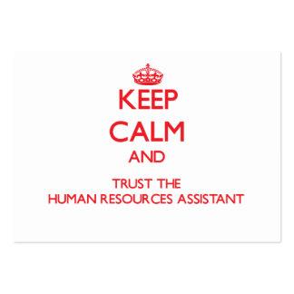 Guarde la calma y confíe en los recursos humanos a plantillas de tarjetas de visita
