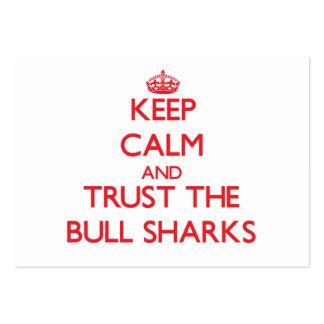 Guarde la calma y confíe en los tiburones de Bull Tarjetas De Visita Grandes