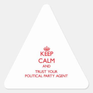 Guarde la calma y confíe en su agente del fiesta p calcomanía de triangulo personalizadas