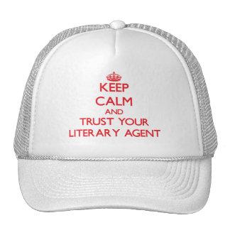 Guarde la calma y confíe en su agente literario gorros bordados