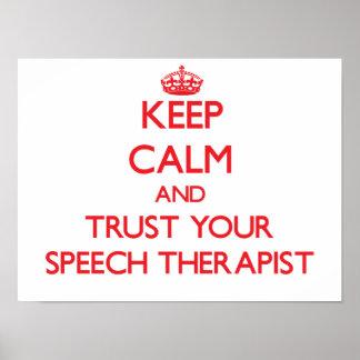 Guarde la calma y confíe en su arapist del discurs póster