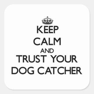 Guarde la calma y confíe en su colector de perro pegatinas cuadradases