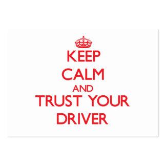 Guarde la calma y confíe en su conductor tarjeta personal