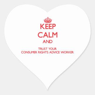 Guarde la calma y confíe en su consejo Wo de las d Calcomanías De Corazones