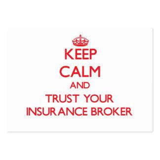 Guarde la calma y confíe en su corredor de seguros tarjetas de visita grandes
