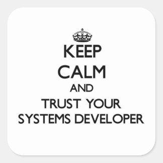 Guarde la calma y confíe en su desarrollador de pegatina cuadrada