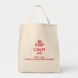 Guarde la calma y confíe en su desarrollo químico bolsa de mano