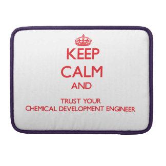 Guarde la calma y confíe en su desarrollo químico funda para macbooks