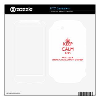Guarde la calma y confíe en su desarrollo químico HTC sensation calcomanías