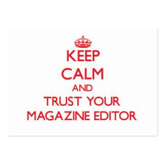 Guarde la calma y confíe en su editor de revista tarjeta de negocio
