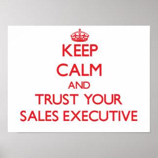 Guarde la calma y confíe en su ejecutivo de ventas póster