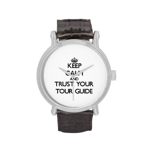 Guarde la calma y confíe en su guía turístico relojes
