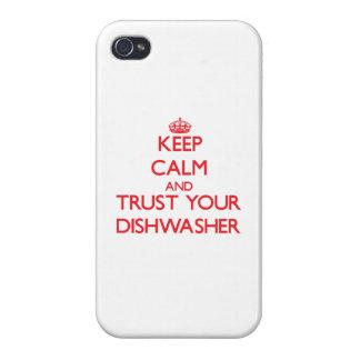 Guarde la calma y confíe en su lavaplatos iPhone 4 protectores