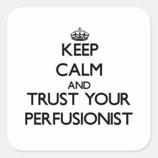 Guarde la calma y confíe en su Perfusionist Pegatina Cuadrada