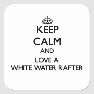 Guarde la calma y confíe en su viga del agua pegatina cuadrada
