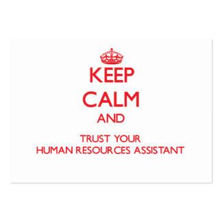Guarde la calma y confíe en sus recursos humanos a plantilla de tarjeta de visita