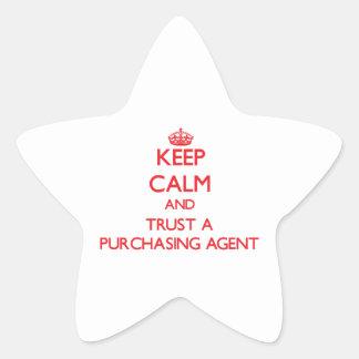 Guarde la calma y confíe en un agente de compra calcomania forma de estrella personalizadas