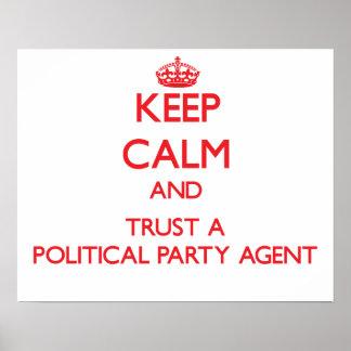 Guarde la calma y confíe en un agente del fiesta p póster