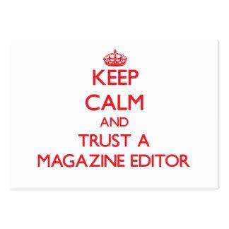 Guarde la calma y confíe en un editor de revista tarjetas de visita