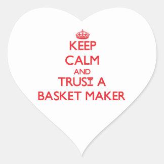 Guarde la calma y confíe en un fabricante de cesta calcomanías de corazones personalizadas