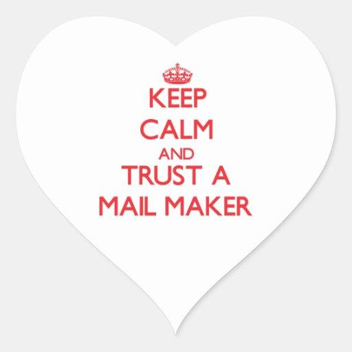 Guarde la calma y confíe en un fabricante del corr calcomania corazon