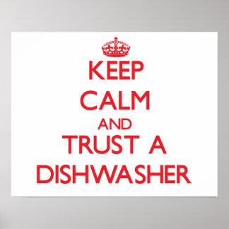 Guarde la calma y confíe en un lavaplatos impresiones