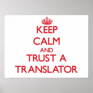 Guarde la calma y confíe en un traductor poster