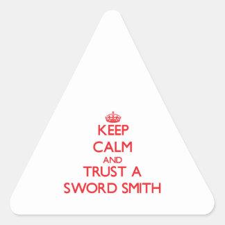 Guarde la calma y confíe en una espada Smith Pegatinas Trianguladas Personalizadas