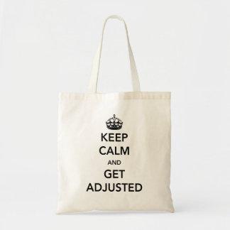 Guarde la calma y consiga ajustado bolsa tela barata
