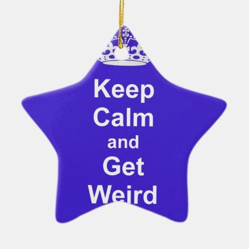 Guarde la calma y consiga extraño ornamento para arbol de navidad