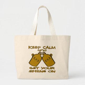 Guarde la calma y consiga su brillo encendido bolsa tela grande